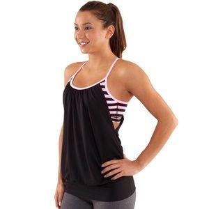 Lululemon No Limits Tank Black Pink Stripe Size 6